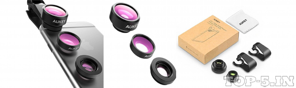 Aukey 3-In-1 Clip-On Cell Phone Camera Lens