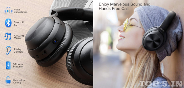 iTeknic Wireless Over-Ear Noise-Cancelling Headphones